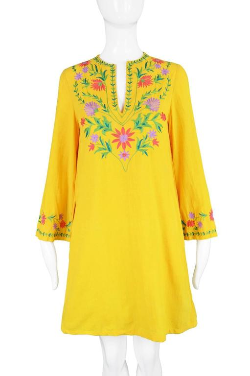 Treacy Lowe Mustard Yellow Hand Embroidered Indian Cotton Mini Dress, 1970s In Excellent Condition For Sale In Doncaster, GB