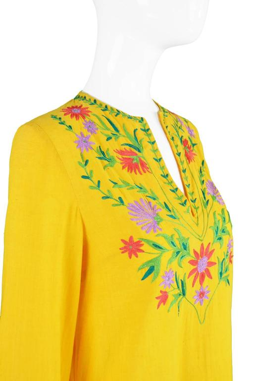 Treacy Lowe Mustard Yellow Hand Embroidered Indian Cotton Mini Dress, 1970s For Sale 3