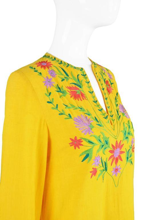 Treacy Lowe Mustard Yellow Hand Embroidered Indian Cotton Mini Dress, 1970s 7