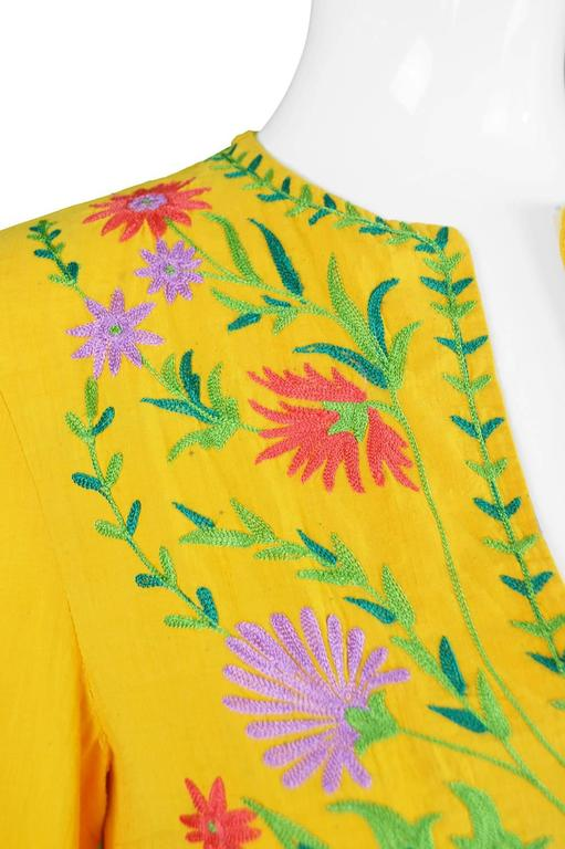 Treacy Lowe Mustard Yellow Hand Embroidered Indian Cotton Mini Dress, 1970s For Sale 4