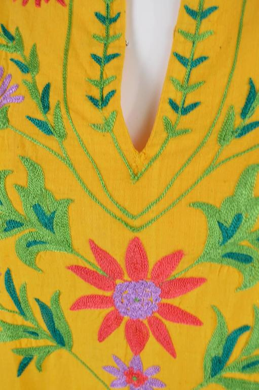 Women's Treacy Lowe Mustard Yellow Hand Embroidered Indian Cotton Mini Dress, 1970s For Sale