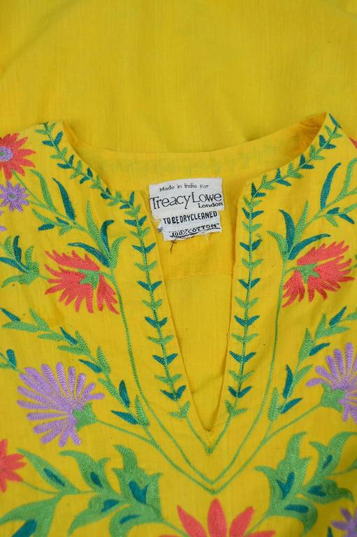 Treacy Lowe Mustard Yellow Hand Embroidered Indian Cotton Mini Dress, 1970s For Sale 6