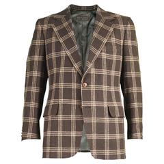 Lanvin Paris Men's Woven Camel Hair Vintage Check Blazer, 1970s