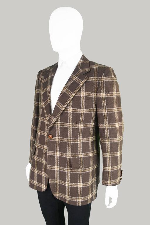Lanvin Paris Men's Woven Camel Hair Vintage Check Blazer, 1970s 5