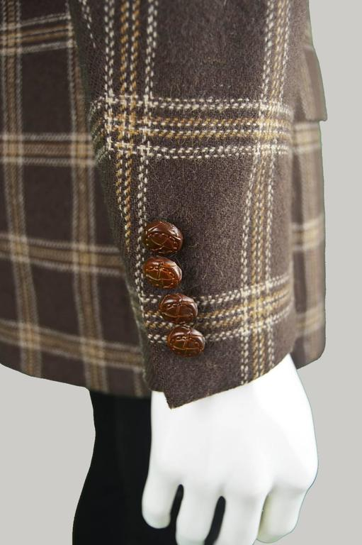 Lanvin Paris Men's Woven Camel Hair Vintage Check Blazer, 1970s 8