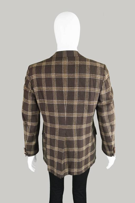 Lanvin Paris Men's Woven Camel Hair Vintage Check Blazer, 1970s 7