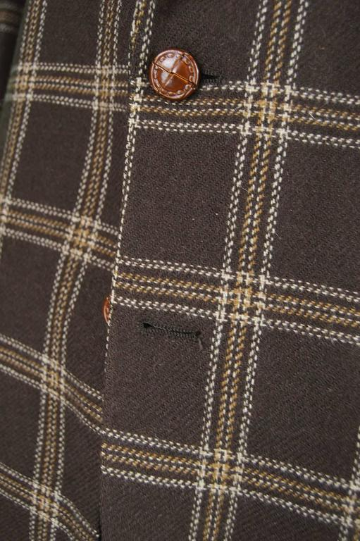Lanvin Paris Men's Woven Camel Hair Vintage Check Blazer, 1970s 6