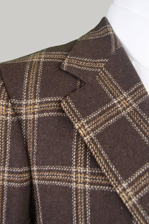 Lanvin Paris Mens Woven Camel Hair Vintage Check Blazer, 1970s In Excellent Condition For Sale In Doncaster, GB