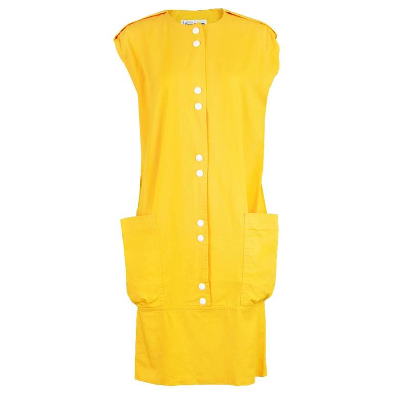 Pierre Cardin Mustard Yellow Dress with Oversized Patch Pockets, 1980s