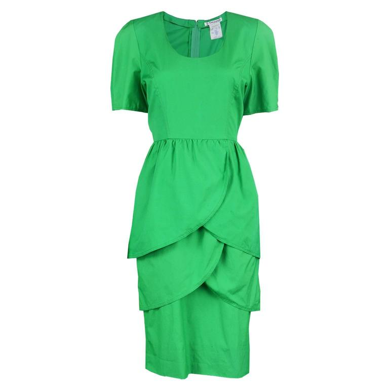 Guy Laroche Green Cotton Tulip Dress, 1980s