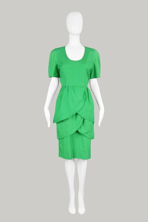 Guy Laroche Green Cotton Tulip Dress 1980s At 1stdibs