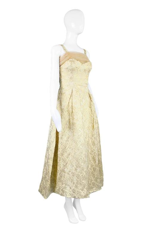 Gold Brocade Evening Gown with Chiffon Train, 1950s For Sale 1