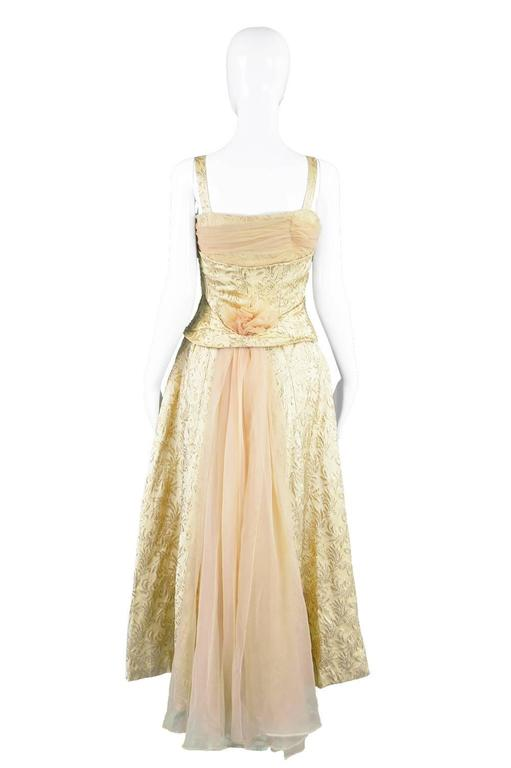 Gold Brocade Evening Gown with Chiffon Train, 1950s For Sale 4
