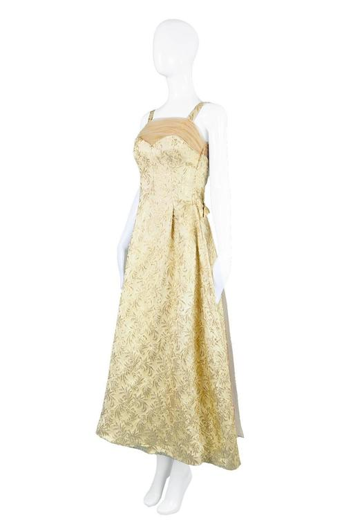 Gold Brocade Evening Gown with Chiffon Train, 1950s For Sale 3