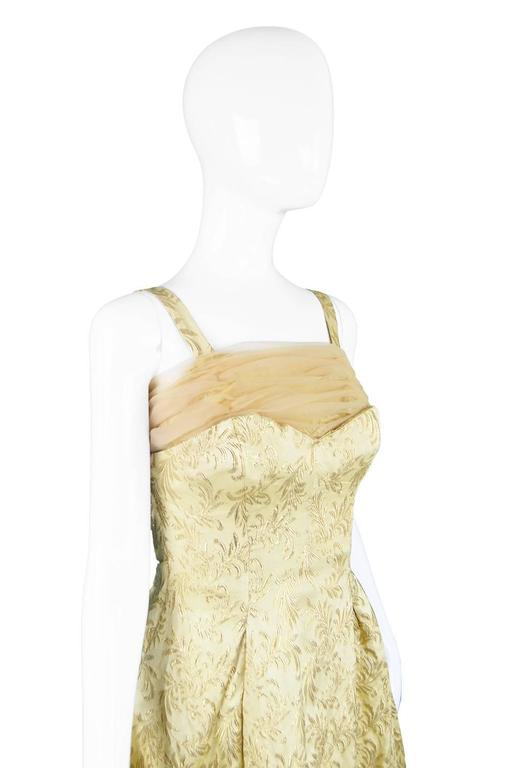 Gold Brocade Evening Gown with Chiffon Train, 1950s For Sale 2