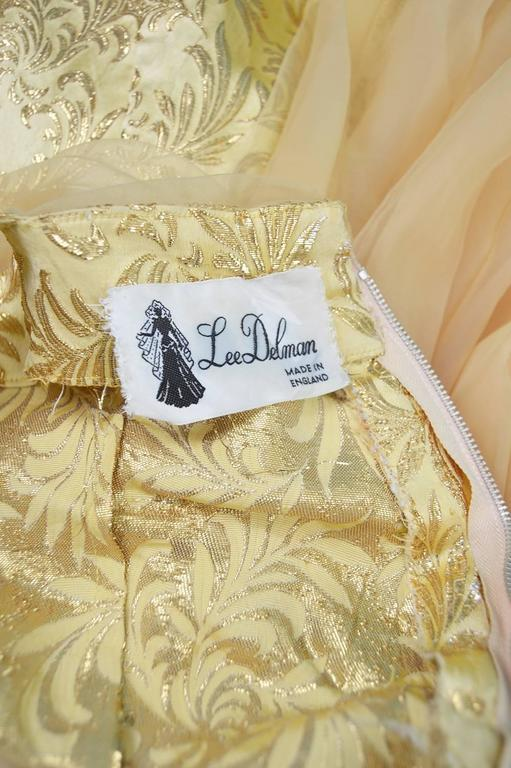 Gold Brocade Evening Gown with Chiffon Train, 1950s For Sale 5