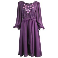 Vintage Beaded Purple Chiffon Dress by Jack Bryan, 1970s