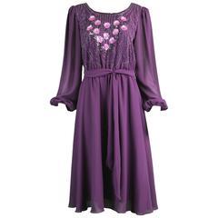 Vintage Beaded Purple Chiffon Dress by Jack Bryan, 1970s