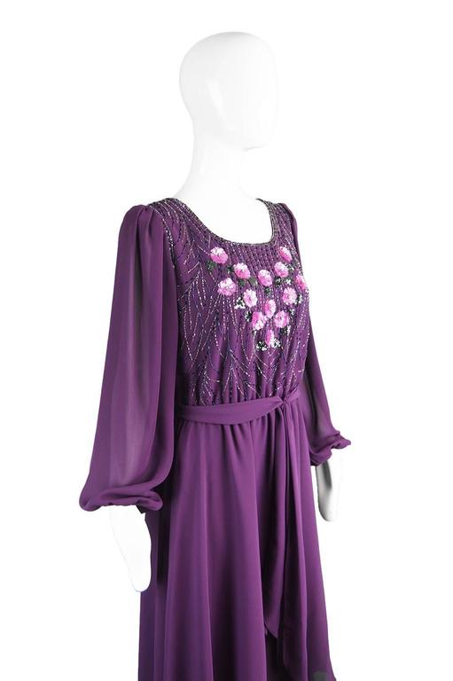 Women's Vintage Beaded Purple Chiffon Dress by Jack Bryan, 1970s For Sale