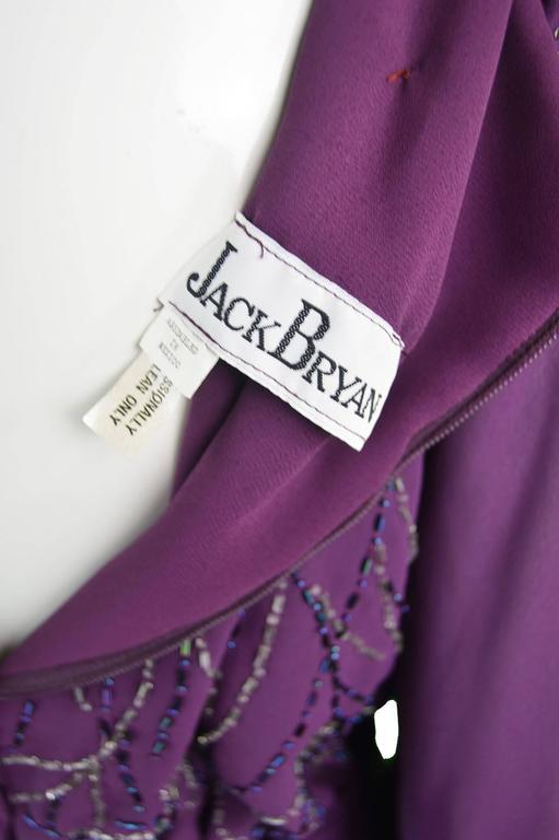 Vintage Beaded Purple Chiffon Dress by Jack Bryan, 1970s For Sale 5