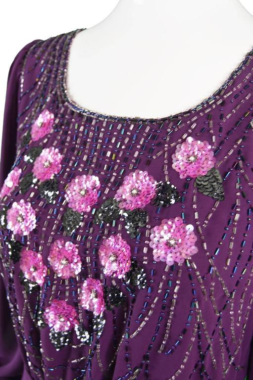 Vintage Beaded Purple Chiffon Dress by Jack Bryan, 1970s For Sale 3
