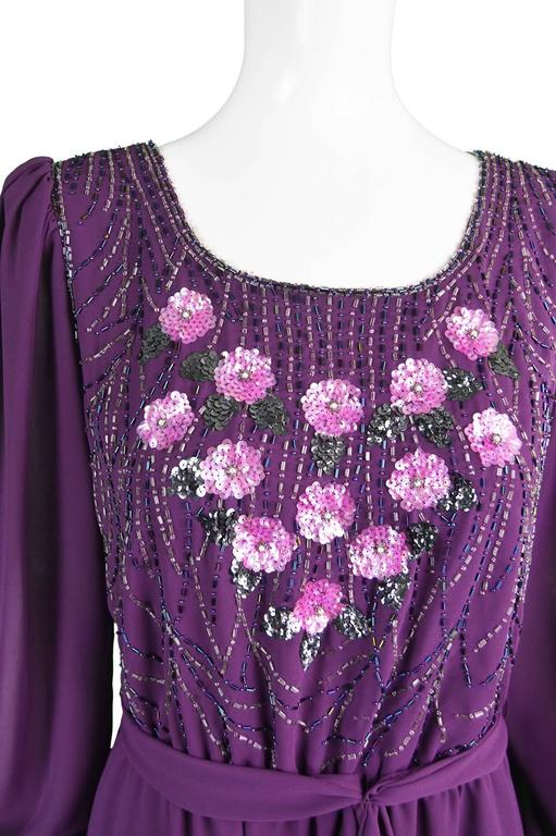Vintage Beaded Purple Chiffon Dress by Jack Bryan, 1970s For Sale 1