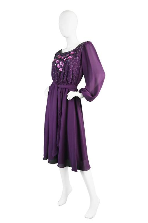 Vintage Beaded Purple Chiffon Dress by Jack Bryan, 1970s For Sale 2