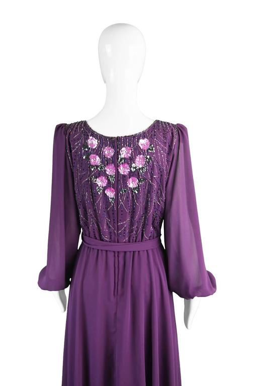 Vintage Beaded Purple Chiffon Dress by Jack Bryan, 1970s For Sale 4