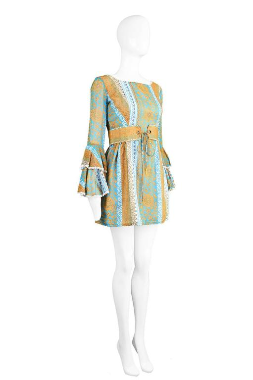 Koupy Boutique Cotton Voile Bell Sleeve Mini Dress, 1970s For Sale 2