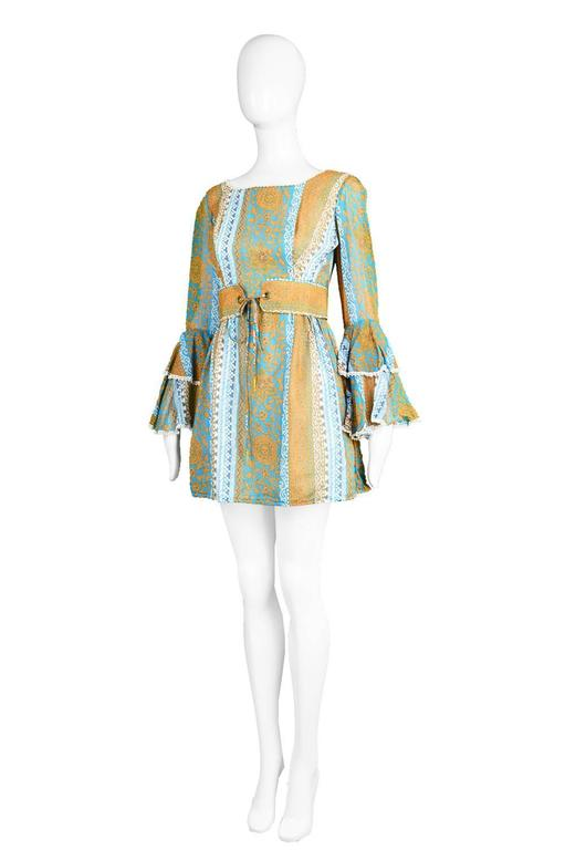 Koupy Boutique Cotton Voile Bell Sleeve Mini Dress, 1970s For Sale 1