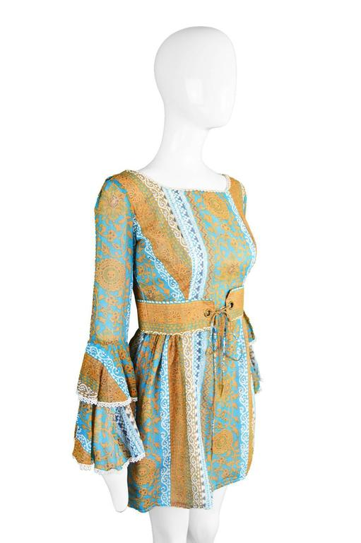 Koupy Boutique Cotton Voile Bell Sleeve Mini Dress, 1970s For Sale 3