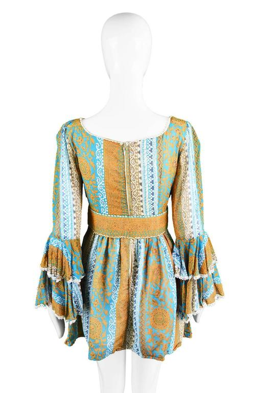 Koupy Boutique Cotton Voile Bell Sleeve Mini Dress, 1970s For Sale 4