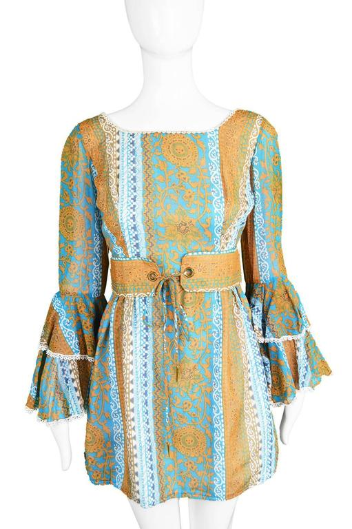 Koupy Boutique Cotton Voile Bell Sleeve Mini Dress, 1970s In Excellent Condition For Sale In Doncaster, South Yorkshire