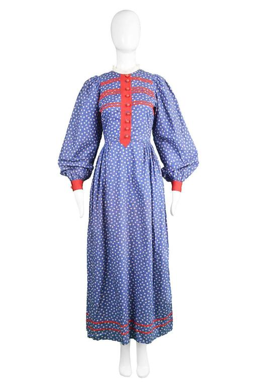 Mary Quant Blue & Red Peasant Dress with Ditsy Floral Print, 1970s 2