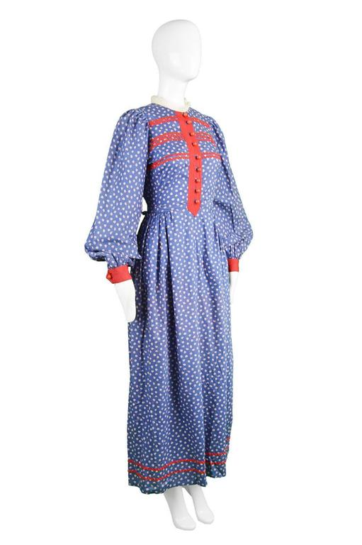 Mary Quant Blue & Red Peasant Dress with Ditsy Floral Print, 1970s 5