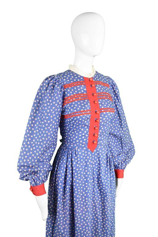 Mary Quant Blue & Red Peasant Dress with Ditsy Floral Print, 1970s 6