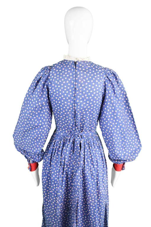 Mary Quant Blue & Red Peasant Dress with Ditsy Floral Print, 1970s 8