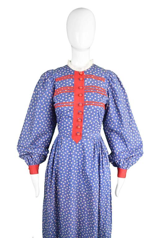 Mary Quant Blue & Red Peasant Dress with Ditsy Floral Print, 1970s 3
