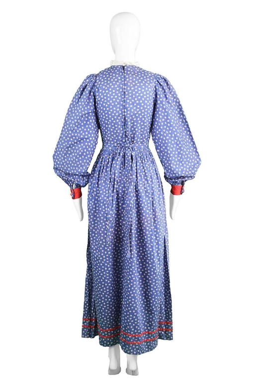 Mary Quant Blue & Red Peasant Dress with Ditsy Floral Print, 1970s 7