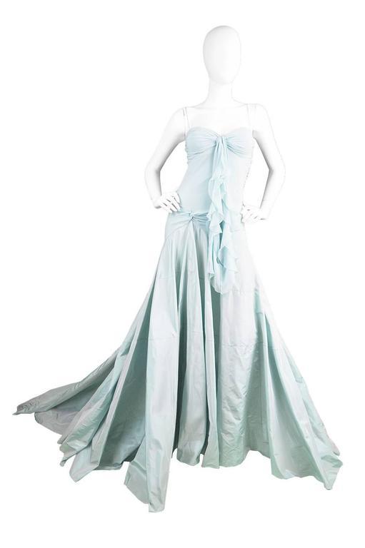 Women's John Galliano for Christian Dior Bias Cut Silk Chiffon Gown with Taffeta Train For Sale