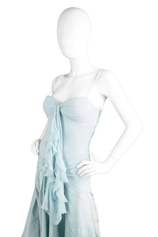 John Galliano for Christian Dior Bias Cut Silk Chiffon Gown with Taffeta Train In Excellent Condition For Sale In Doncaster, South Yorkshire