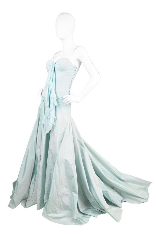 John Galliano for Christian Dior Bias Cut Silk Chiffon Gown with Taffeta Train For Sale 1