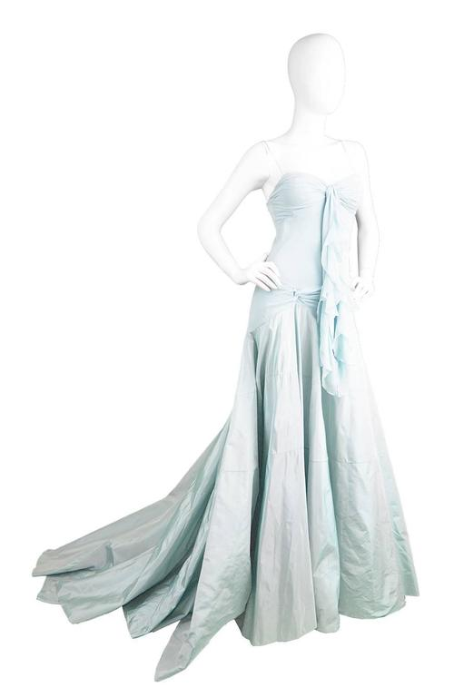 """A showstopping evening gown by John Galliano for Christian Dior, c. 1990's in a bias cut silk chiffon with silk taffeta train.  Estimated Size: UK 6/ US 2/ EU 34 Bust - 31"""" / 79cm Waist - 28"""" / 71cm Hips - Up to 36"""" / 91cm Length (Bust to Hem"""