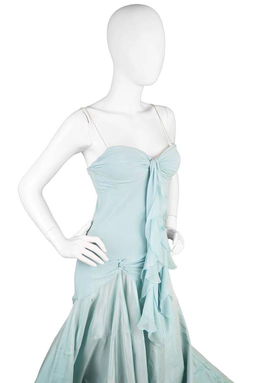 John Galliano for Christian Dior Bias Cut Silk Chiffon Gown with Taffeta Train 3