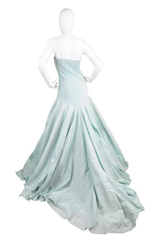 John Galliano for Christian Dior Bias Cut Silk Chiffon Gown with Taffeta Train For Sale 2