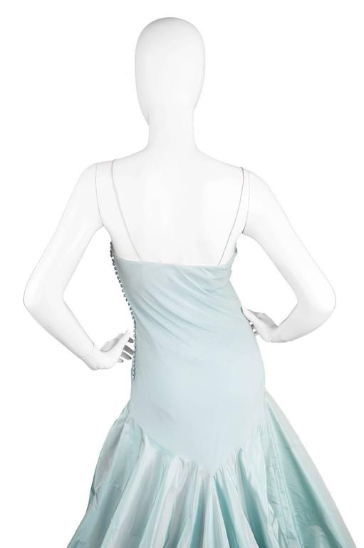 John Galliano for Christian Dior Bias Cut Silk Chiffon Gown with Taffeta Train For Sale 3