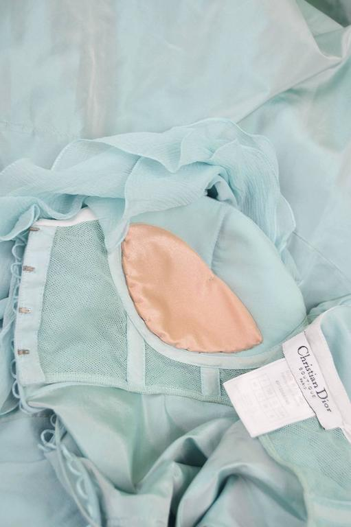 John Galliano for Christian Dior Bias Cut Silk Chiffon Gown with Taffeta Train For Sale 4