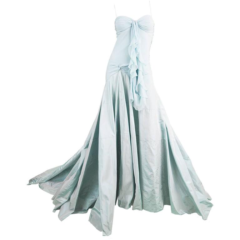 John Galliano for Christian Dior Bias Cut Silk Chiffon Gown with Taffeta Train For Sale
