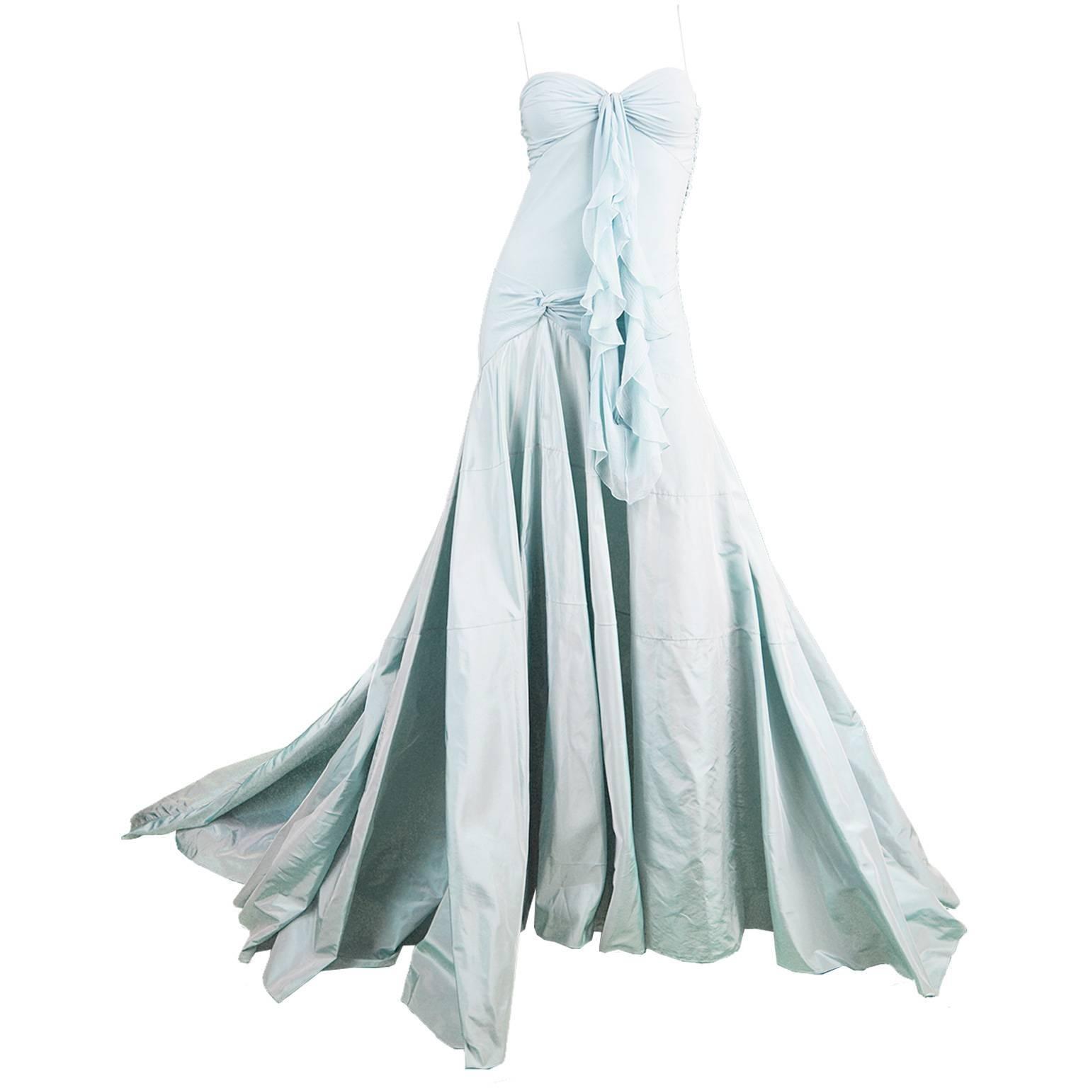 John Galliano for Christian Dior Bias Cut Silk Chiffon Gown with ...