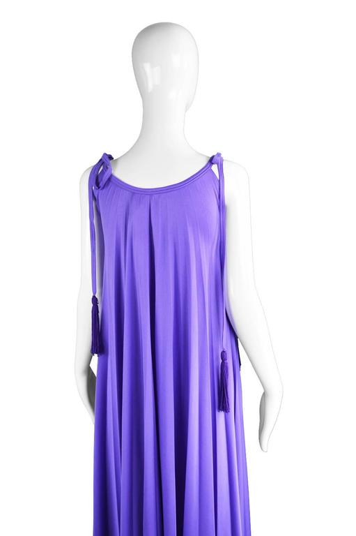 Frank Usher Purple Pleated Jersey Goddess Evening Gown, 1970s For Sale 3